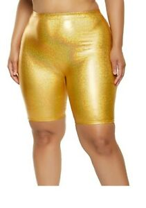 Gold Holographic Biker Shorts Women's Plus Size 3X (Runs Small) SEALED PACKAGE
