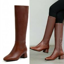 Women's Solid Color Block Heel Round Toe Mid Calf Motorcycle Riding Boots 34-39