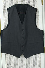 "Men's Vintage Reversible Waistcoat XL 42"" Chest Woolmark Wool Charcoal Grey Vest"