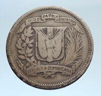 1947 DOMINICAN REPUBLIC Silver Liberty LIBERTO Arms Antique Silver Coin i74337