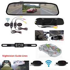 "Wireless 4.3"" HD Car Mirror Monitor+Parking Rear View Reverse Back up Camera Kit"