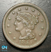 1855 Braided Hair Large Cent --  MAKE US AN OFFER!  #B6270