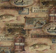 UPHOLSTERY FABRIC STARLIGHT MOSS LODGE CABIN RUSTIC FISHING HUNTING LANTERNS