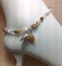Anklet/Ankle Bracelet W/Swarovski Elements Usa Handmade Mother Of Pearl Clear