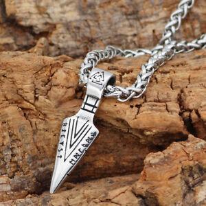 Viking Axe Spear Hammer Futhark Valknut Runes Stainless Steel Silver Necklace