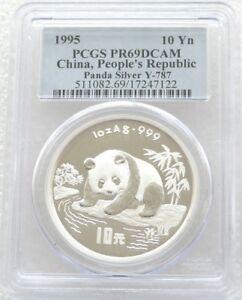 1995 China Panda 10 Yuan Silver Proof 1oz Coin PCGS PR69 DCAM