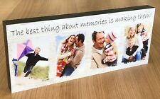 """Memories""  -12x5"" Premium Personalised Wooden Photo Block - Friends Family"