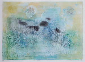 SHOICHI HASEGAWA (1929-) RARE etching Abstract Japanese 1975 Mid Century Modern