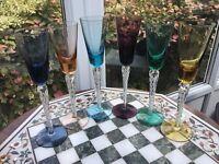 "6 RARE Vintage STUART SET Air twist Harlequin bowl 9"" liqueur glass AIR TWIST 🎁"