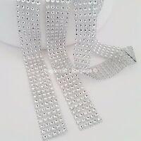 5 ROW SILVER Diamante Bling Sparkling Diamond Effect Cake Craft Ribbon