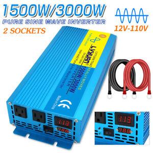 1500w 3000w pure sine wave power inverter DC 12v to AC 120v Car Converter LED
