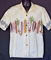 Royal Creations Large Surfboards Palm Trees Aloha Hawaiian Shirt Button Front