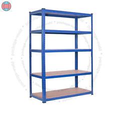 New Heavy Duty Metal Storage Racking 5 Tier Blue Shelve Shelving Boltless Shelf