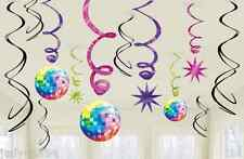 PACK OF 12 DISCO FEVER PARTY SWIRLS WHIRLS HANGING DECORATIONS MIRROR BALL