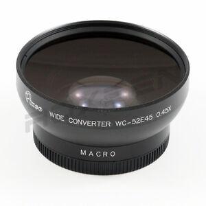 52mm 0.45x Wide Angle Conversion lens for Canon Sony Nikon Panasonic Pentax