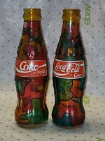 "Coca-Cola Coke SODA 8"" Empty STAINED GLASS multicolored Bottles, Lot Of 2"