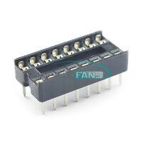 100PCS DIP-16 IC Socket Adaptor Solder Type Socket Pitch Dual Wipe Contact NEW