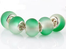 5pcs SILVER MURANO green jelly spacer beads fit European Charm Bracelet #F939