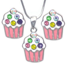 Pink Cupcake Colorful Sprinkle Pendant Necklace Post Stud Earrings Party Set