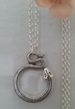 Magnifying Glass Statement Necklace pendant snake silver chain long adjust fine