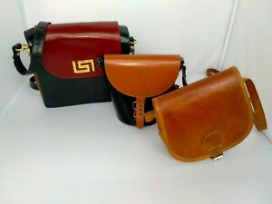 VINTAGE SMALL LEATHER BAG BUNDLE IN GOOD CONDITION