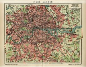 1912 ENGLAND LONDON INNER CITY PLAN Antique Map dated