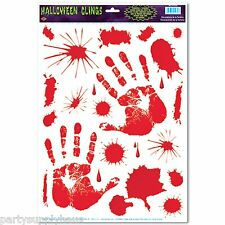 ZOMBIE Halloween BLOODY HANDPRINTS AND SPLATTERS (22 CLINGS)  Great for car