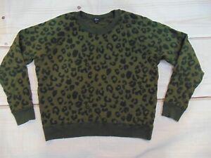 Rails Flocked Olive Leopard Print Sweatshirt Green Women's Size Medium Pullover