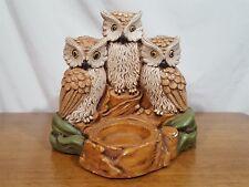 Vtg 1978 Continental Studios 3 Owls Napkin Salt & Pepper Shaker Holder Chalkware