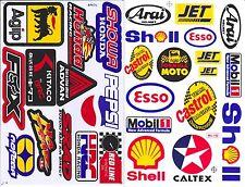 *2SH. CASTROL MOBIL 1 AGIP HRC OIL RACING STICKER DIE-CUT VINYL AUTO MOTOR SPORT