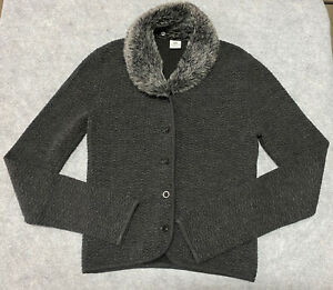 ARMANI EXCHANGE Button Shirt Sweater REMOVABLE FAUX FUR Knit Long Sleeve Small