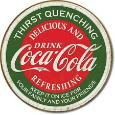 "Coke Thirst Quenching 12"" Round Tin Sign Nostalgic Coca-Cola Metal Sign Decor"