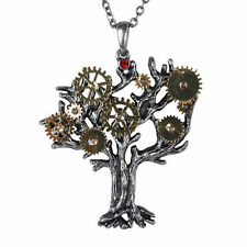Pendant Necklace Steampunk Gear Work Style Tree of Life Fashion Jewelry