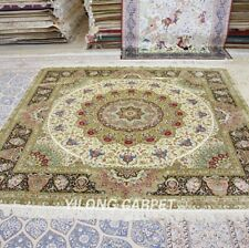 Yilong 8'x8' Classic Square Hand-knotted Carpets Floral Handmade Silk Rug T050