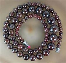 "Real Natural 5-11mm Garnet Gemstone Round Beads Necklaces 18"" JN43"