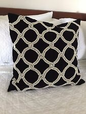 "TWO Kim Seybert Black Velvet Pillows - Beaded Cream Gold- Gorgeous-NWT 22"" x 22"""