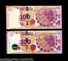 ARGENTINA 100 PESOS P358 2012 ERROR W/O GREEN HOLOGRAM COMMEMORATIVE + UNC NOTE