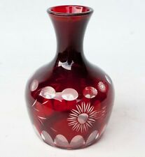 Vintage Ruby Red Cut to Clear - Crystal Glass - Flower Vase