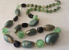 Vintage 60s Necklace Green Cats Eye Black Clear Gold Glass Beads 50s Futuristic