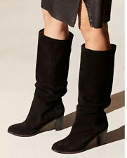 Free People Tennison Tall Black Suede Heeled Boots 6/36