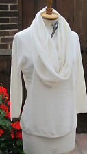 new 100% cashmere ivory winter white JUMPER with detachable cowl bnwt+boxed uk14