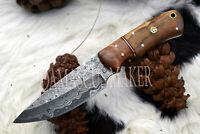 Custom Made Dmascus Steel Full Tang Skinner Knife - Olive Wood (Damascus Maker).