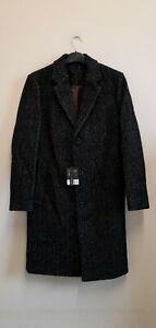 TOPMAN Leon Herringbone Coat In Mid Blue size UKXS {R132}