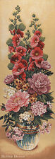 """42"""" WALL JACQ. WOVEN TAPESTRY Floral Bouquet with Mallows EUROPEAN DECOR - MALVA"""