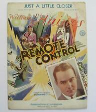 Old 1930 MGM Production REMOTE CONTROL Just A Little Closer MUSIC Johnson Meyer