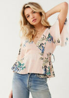New ASTR Small Floral Wrap Top Shirt Blouse short Sleeve Peplum