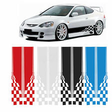 2xCar Truck Body Racing Side Stripe & Flag Stickers Decals Graphic Vinyl 11X60''