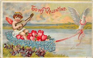 H66/ Valentine's Day Love Holiday Postcard c1910 Dove Fantasy Cupid Boat2