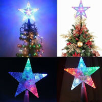 2x 5 LED Christmas Xmas Tree Topper Star Colorful Light Party Ornaments  Decor