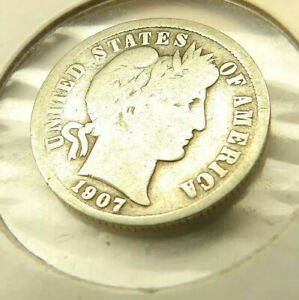 1907 BARBER DIME SILVER COIN + FREE SHIPPING!
